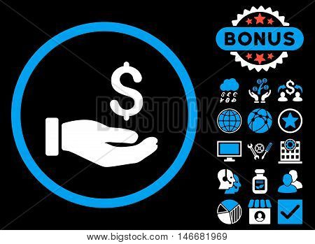 Earnings Hand icon with bonus. Glyph illustration style is flat iconic bicolor symbols, blue and white colors, black background.