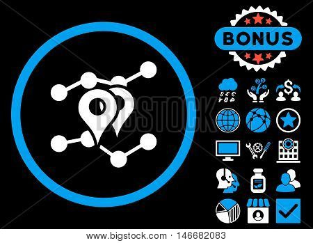 Geo Trends icon with bonus. Glyph illustration style is flat iconic bicolor symbols, blue and white colors, black background.