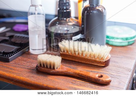 Close up of barber's tools on the table