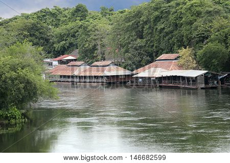 Floating house on the river Kwai Noi in Kanchanaburi at Attractions Thailand.