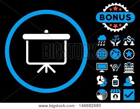 Projection Board icon with bonus. Glyph illustration style is flat iconic bicolor symbols, blue and white colors, black background.