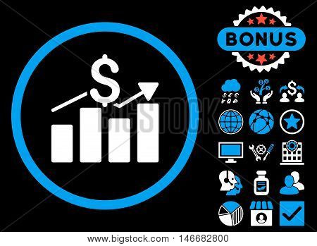 Sales Chart icon with bonus. Glyph illustration style is flat iconic bicolor symbols, blue and white colors, black background.