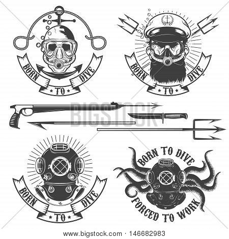 Set of diver emblems. Diving club or school emblem template. Design element for logo label emblem sign t-shirt print poster. Vector illustration.