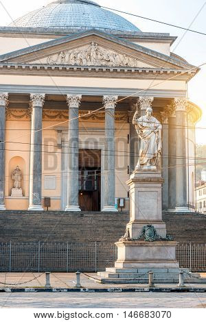 Gran Madre church with Vittorio Emanuele statue in Turin city in Piedmont region in Italy
