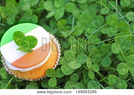 Tasty cupcake on clover leaves. Saint Patrics Day concept