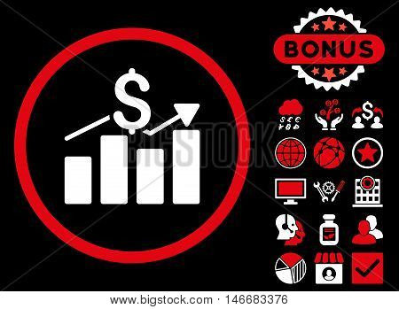 Sales Chart icon with bonus. Glyph illustration style is flat iconic bicolor symbols, red and white colors, black background.