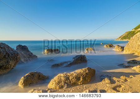 A view of a sandy beach Porto Katsiki on the island Lefkada, Greece