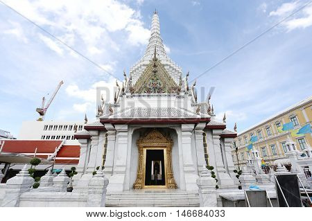 The City Pillar Shrine of Bangkok on the background blue skyThe City Pillar Shrine open the general public to watch and take a photo.