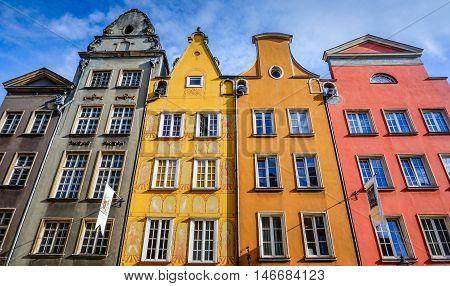 Gdansk, Poland - Sep 11, 2015. Colorful Flemish Houses on Ulica Dluga Gdansk Poland