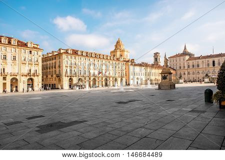 Castle square with saint Lawrence church in Turin old city center in Piedmont region in Italy