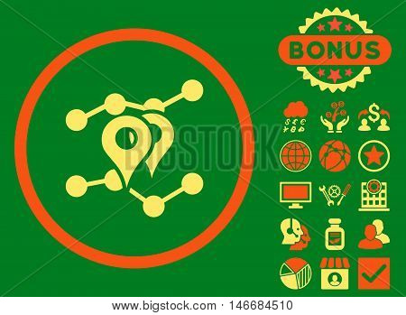 Geo Trends icon with bonus. Glyph illustration style is flat iconic bicolor symbols, orange and yellow colors, green background.