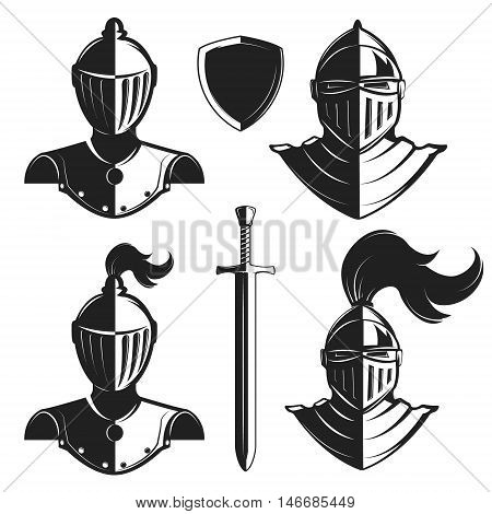 Set of knights helmets isolated on white background. Knight's sword and shield. Design elements for logo label emblem sign badge brand mark. Vector illustration.