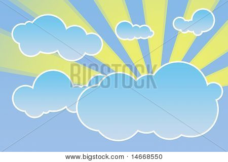 Abstract cloudscape with sun rays illustration