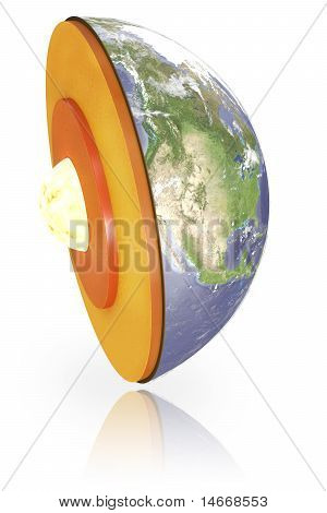 Earth structure dissection isolated on white with clipping path