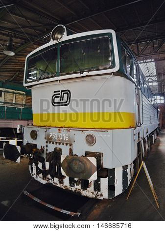 2016/08/28 - Chomutov Czech republic - white green and yellow diesel locomotive T478.3016