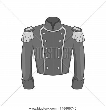 Military jacket of guards icon in black monochrome style isolated on white background. Clothing symbol vector illustration