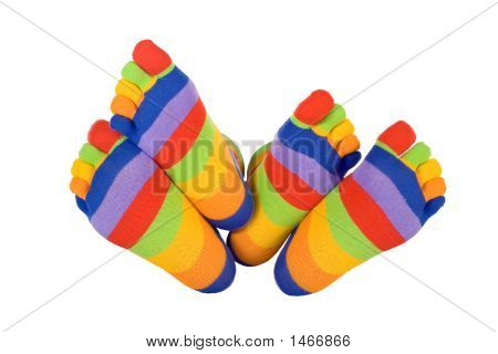 Man And Woman Feets In Funny Socks