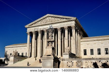 Washington DC - April 12 2014: The Greek-inspired classical facade of the United States Supreme Court completed in October 1935