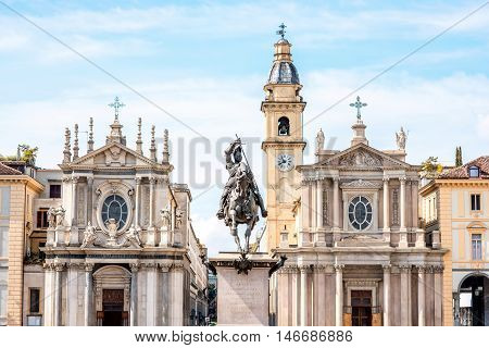 Two similar churches on San Carlo square in the old city center of Turin city in Italy