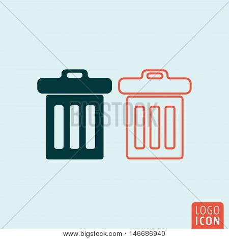 Trash icon. Trash basket symbol. Vector illustration