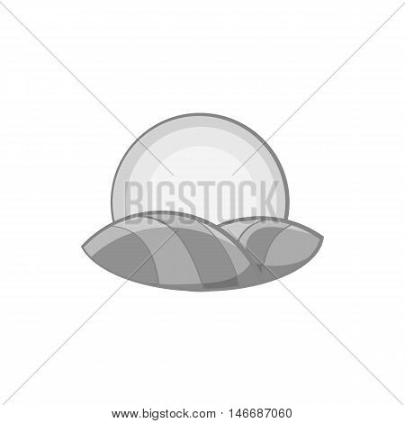 Hill and sun icon in black monochrome style isolated on white background. Nature symbol vector illustration