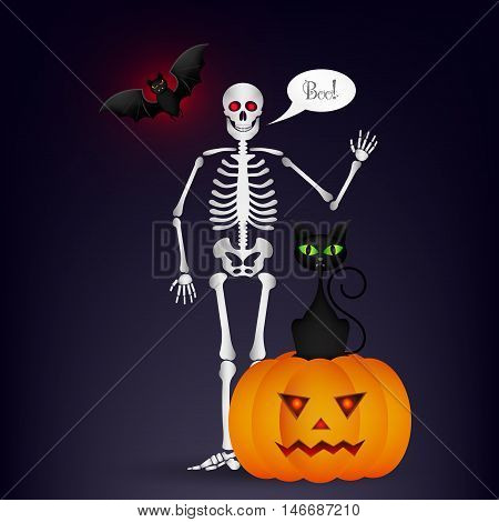 Halloween night background with full moon cute dancing skeletons and bats. Halloween vector illustration for greeting card poster wallpaper or flyer design.