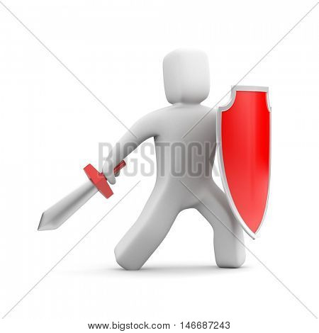 Person with shield and sword - warrior. 3d illustration
