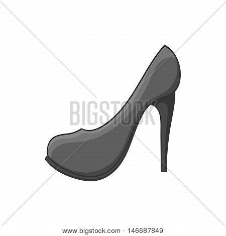 Women shoes icon in black monochrome style isolated on white background. Footwear symbol vector illustration