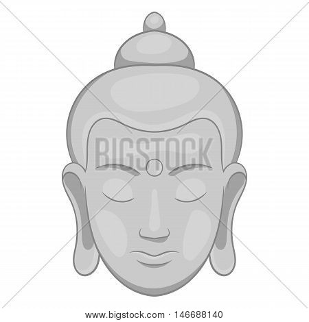 Buddha statue icon in black monochrome style isolated on white background. Religion symbol vector illustration