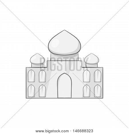 Taj Mahal icon in black monochrome style isolated on white background. Landmark symbol vector illustration