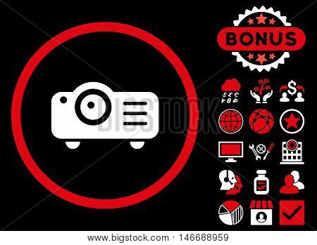 Projector icon with bonus. Glyph illustration style is flat iconic bicolor symbols, red and white colors, black background.