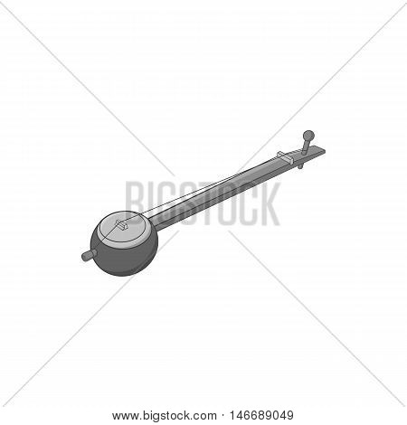 Sitar icon in black monochrome style isolated on white background. Musical instrument symbol vector illustration