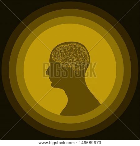 Silhouette of the human head with brain. Low poly human brain. Vector illustration of abstract brain. Brain illustration for packaging drugs