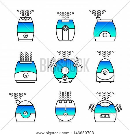 Vector illustration of a humidifier. Line vector air cleaner icon. Air purifier set.
