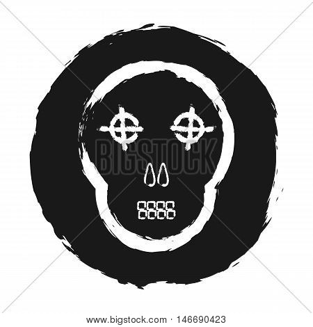 Silhouette of a skull on grunge background. Comic cartoon. Isolated.