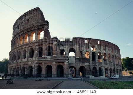 Colosseum in Rome at sunrise