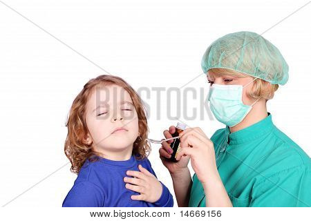 little girl not to take medicine