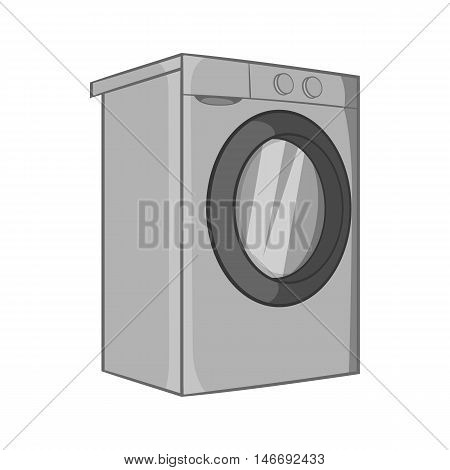 Washer icon in black monochrome style isolated on white background. Appliances symbol vector illustration