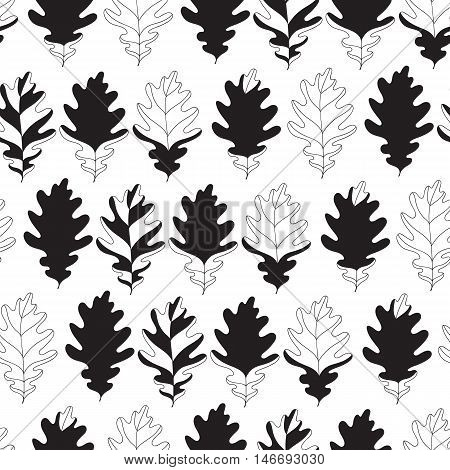 Seamless background with monochromatic oak autumn leaves. Vector illustration. Pattern with linear and silhouettes fall leaves.