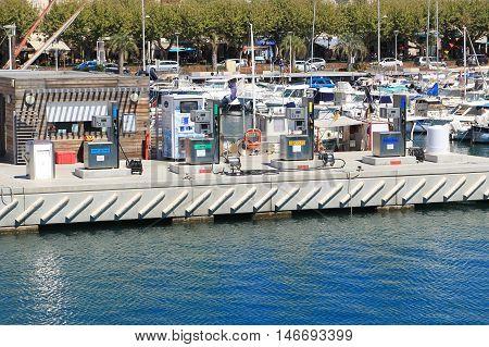 Saint-raphael, Provence, France - August 21 2016: Marine Boat Filling Station Selling Regular And Ta