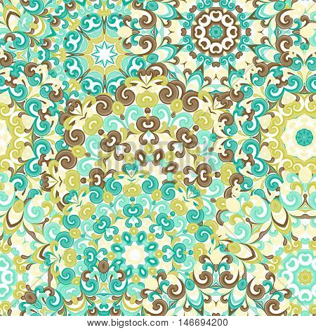 Seamless colorful ethnic pattern with mandalas in oriental style. Round doilies with blue, brown, green curls and swirls weaving in arabesque traditional lace ornament. Vector illustration