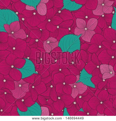 Beautiful seamless background with flower hydrangea . Hand-drawn contour lines and strokes. Perfect for background greeting cards and invitations to the day of wedding birthday and Valentine's Day