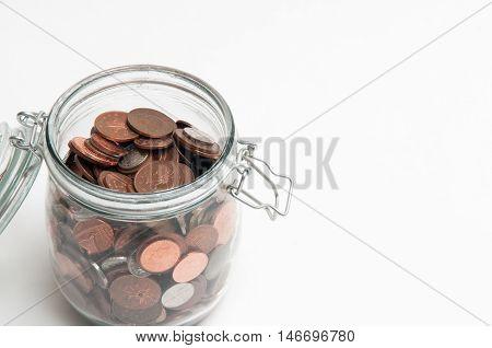 Savings Jar On White