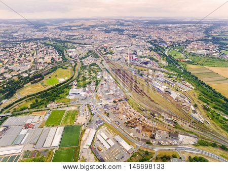 Aerial view to industrial zone and technology park. Suburb of Pilsen city in Czech Republic, Europe.