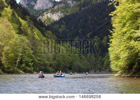 SLOVAKIA, PIENINY - MAY 05, 2014: Popular rafting on the Dunajec in Pieniny National Park in Slovakia and Poland.