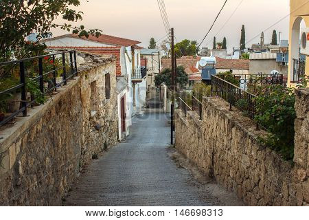 The famous Bitter Lemons street, where lived and worked classic of English literature Lawrence Durrell in Bellapais village near the town of Kyrenia (Girne), Northern Cyprus.