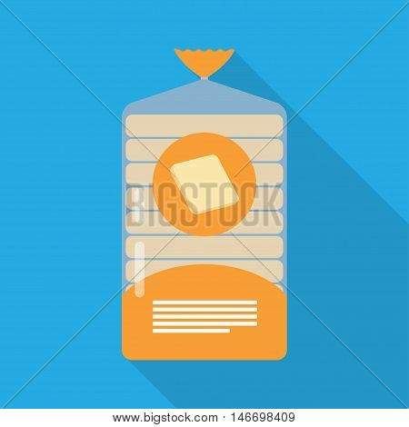 pack of sliced bread with long shadow, in clear plastic film bag
