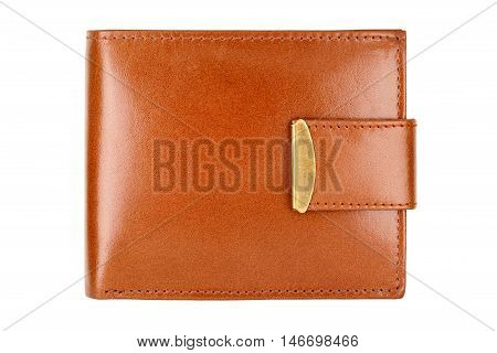 Leather brown wallet isolated on white background