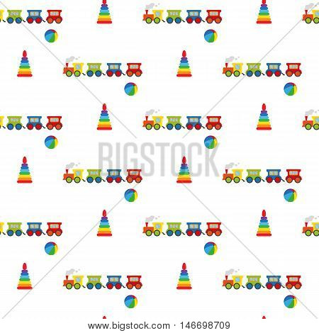 Pyramid, ball and locomotive. Seamless pattern. Vector illustration on a white background. Swatch inside.