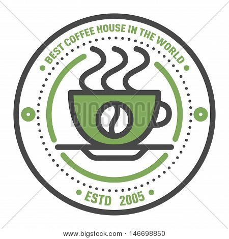 Label for restaurant coffee monogram logo design. Vector cafe sign coffee monogram and restaurant symbol coffee logo badge. Retro food drink coffee monogram business menu badge shop sticker icon.